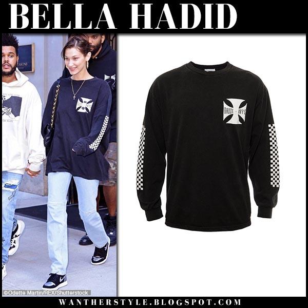Bella Hadid in black sweatshirt and jeans model street fashion october 3