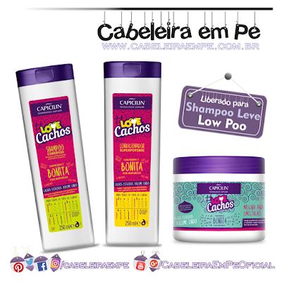 Linha de cuidados diários # Love Cachos - Capicilin (Shampoo, Condicionador e Máscara liberados para Low Poo)