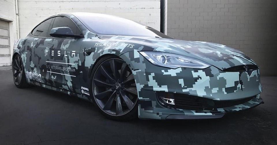 Tesla Model S Receives 8 Bit Camo Wrap For Veterans Program