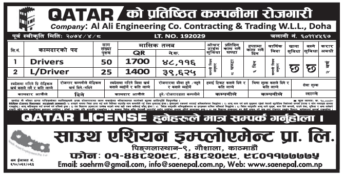 Jobs in Qatar for Nepali, Salary Rs 48,116
