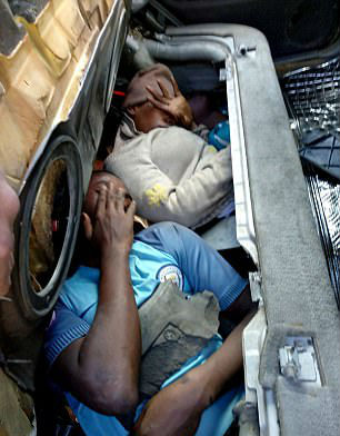 Photos: Four African migrants found hidden inside boot, bonnet and dashboard of a car at Melilla border, Spain