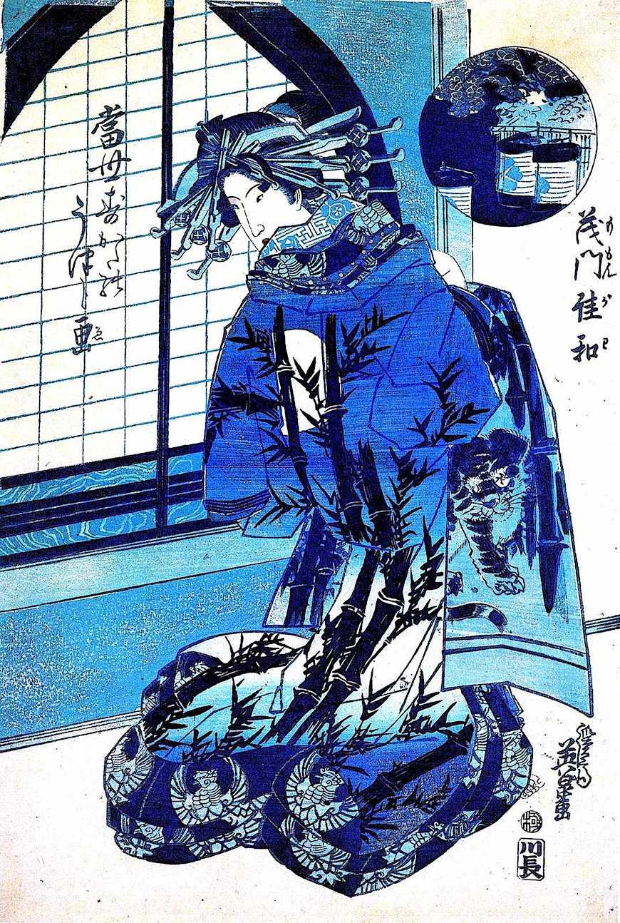 a Keisai Eisen print in blue, 1940s?