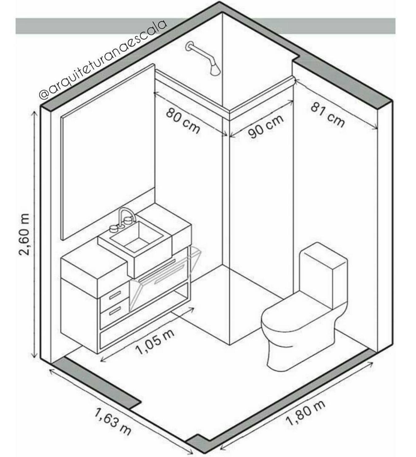 101 planos de casas: Medidas mínimas de un baño cuadrado