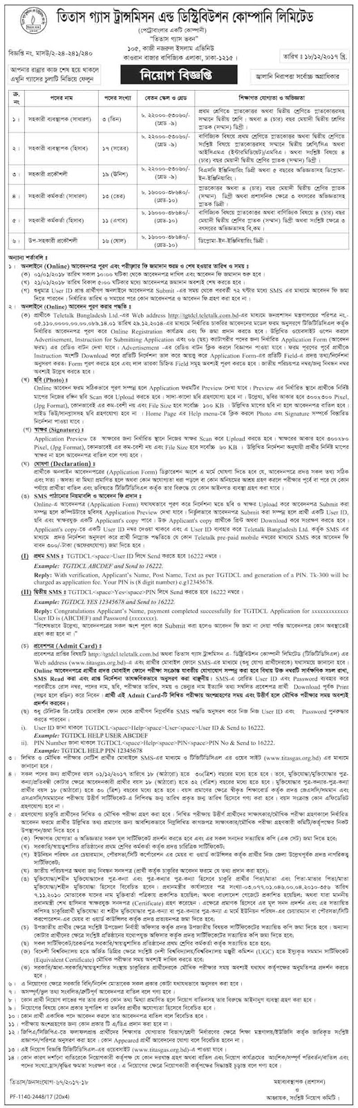 Titas Gas Transmission and Distribution Company Limited (TGTDCL) Job Circular 2018