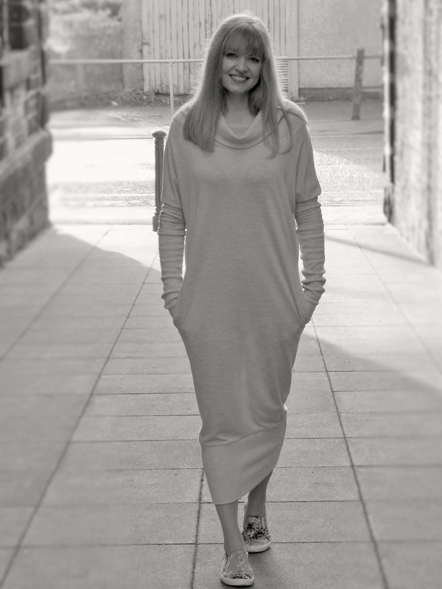 What LIzzy Loves wears maxi sweat dress by Monks on Vacation
