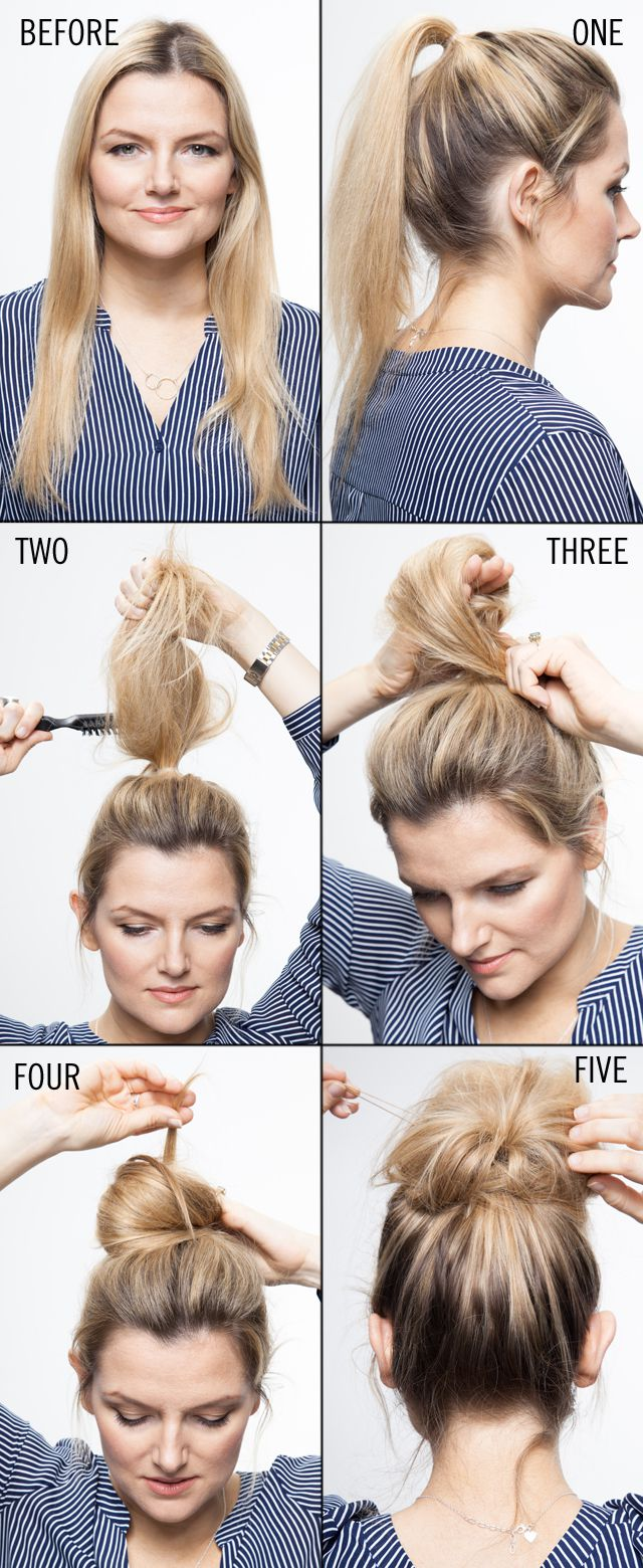 easy hairstyles tutorial top knot bun