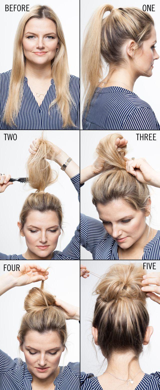 Cute Easy Hairstyles Hair Tutorial Step By Step Top Knot Bun