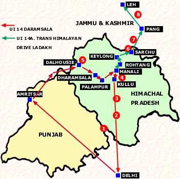 North India Tourist Map | Path Map on golden triangle india map, north india map, northern plain india map, india travel map,
