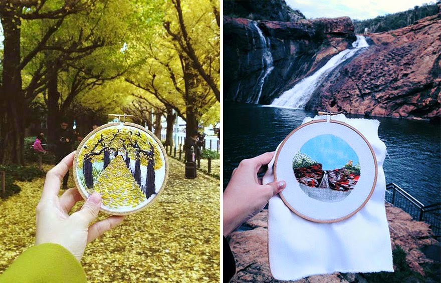 Tokyo (left) | Perth, Serpentine Falls (right) - Sew Wanderlust: Designer Embroiders Her Travels On-Site Instead Of Taking Photos