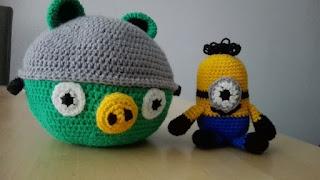 Angry Bird Helm en Minion gehaakt