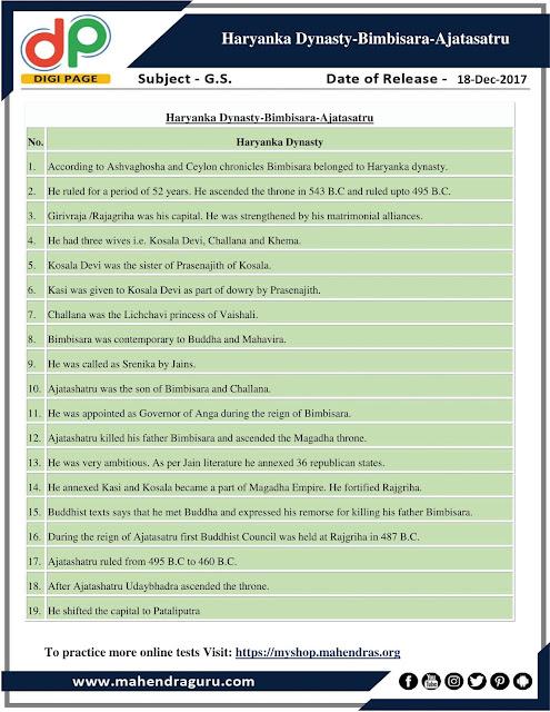 DP | Haryanka Dynasty - Bimbisara - Ajatasatru | 17 - 12 -17