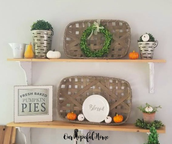 farmhouse shelves fall decor tobacco basket pumpkins boxwood wreaths pumpkin pie sign blessed plate