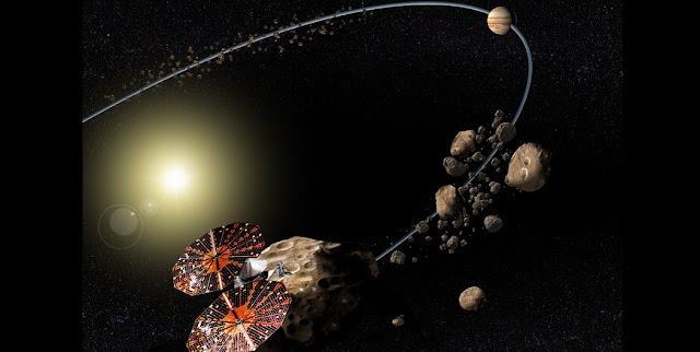 Artist's impression of the Lucy spacecraft. Credit: NASA