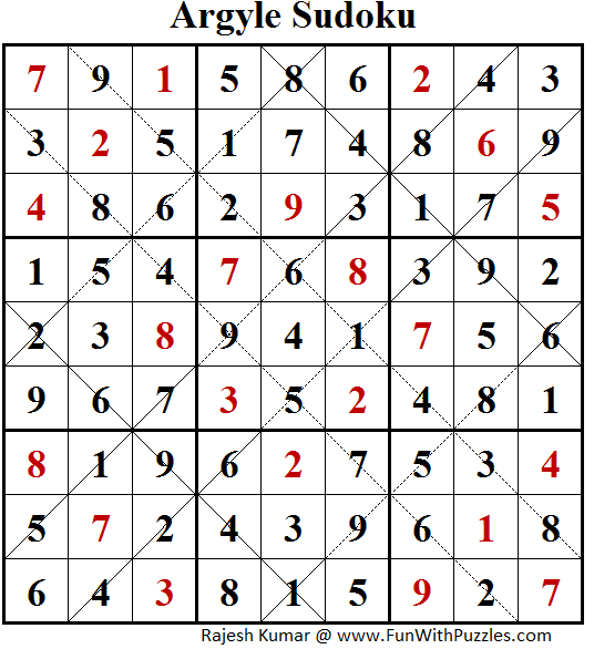 Argyle Sudoku (Puzzles for Adults #152) Solution
