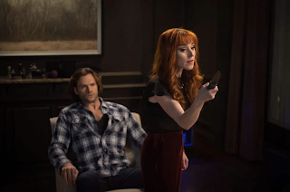 "Jared Padalecki as Sam Winchester and Ruth Connell as Rowena in Supernatural 13x19 ""Funeralia"""