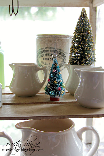 Vintage bottle brush trees and ironstone creamers