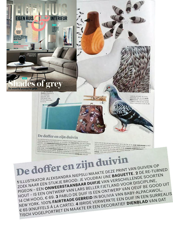 Pablo pigeon oeufnyc in dutch magazine