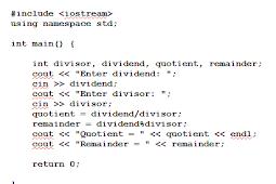 Cara Menemukan Quotient dan Remainder Pemrograman C++