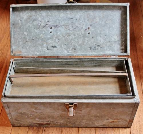 vintage galvanized tool box
