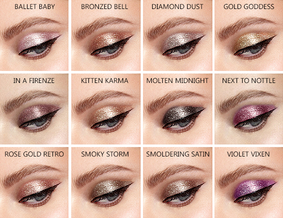 Stila Magnificent Metals Glitter Glow Liquid Eye Shadows Swatches