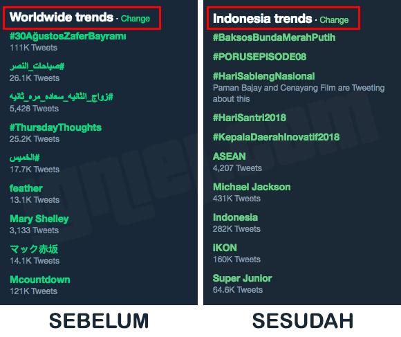 Ganti Trending Topic Twitter Berdasarkan Lokasi Negara dan Kota