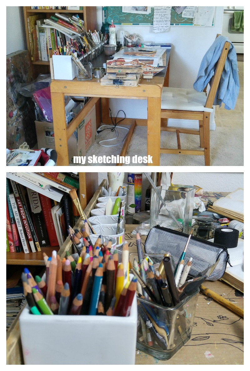 my dedicated sketching desk in my art studio
