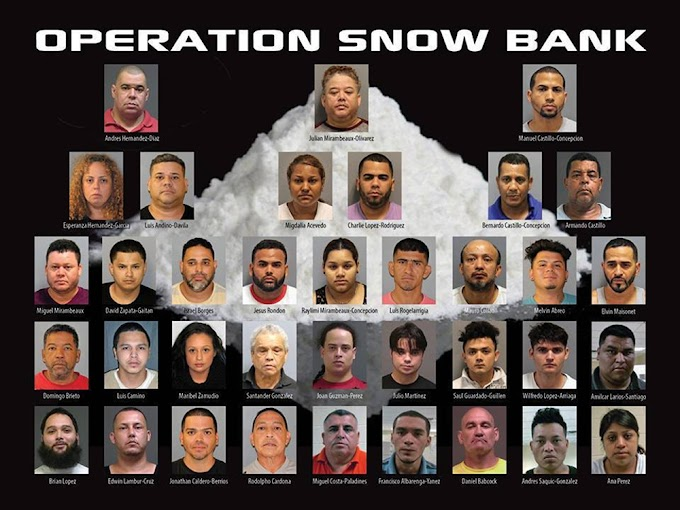 """Varios dominicanos caen en la """"Operación Snow Bank"""" contra narcotráfico y pandillerismo en Nueva Jersey"""