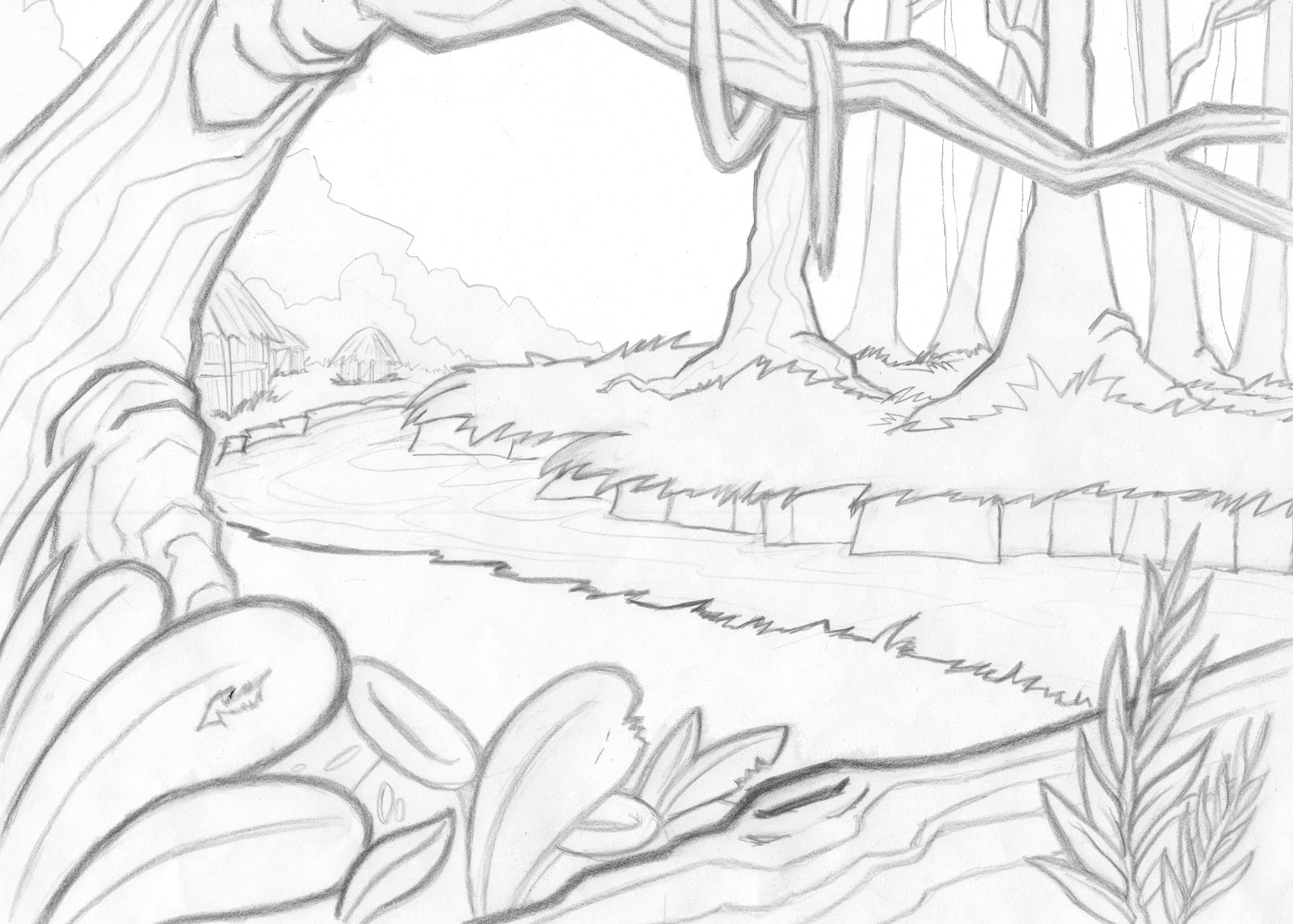 Jungle scenery coloring cake ideas and designs for Scenery coloring pages