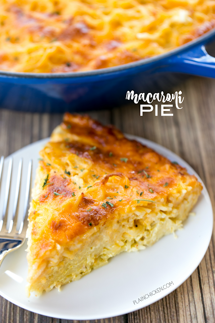 Macaroni Pie - THE BEST mac and cheese EVER. My husband took one bite and couldn't stop raving about it! Vermicelli, eggs, milk, dry mustard, cayenne pepper and cheddar cheese. Seriously amazing! Can add ham or chicken to make this a main dish. Easy to half too. Everyone LOVED this easy casserole!