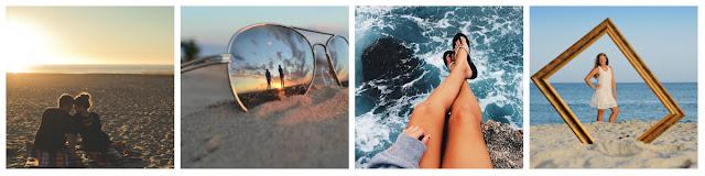 casal na praia, óculos de sol espelhado, havaianas, moldura para foto imagens criativas na praia pinterest tumblr