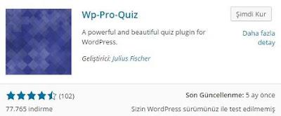 Wordpress pro quiz eklentisi