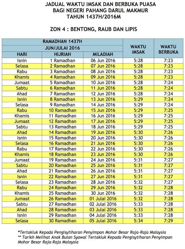 Jadual Waktu Buka Puasa Dan Imsak 2016 Pahang zon 4