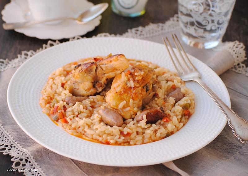 Arroz al horno con verduras y pollo - cocinando con neus