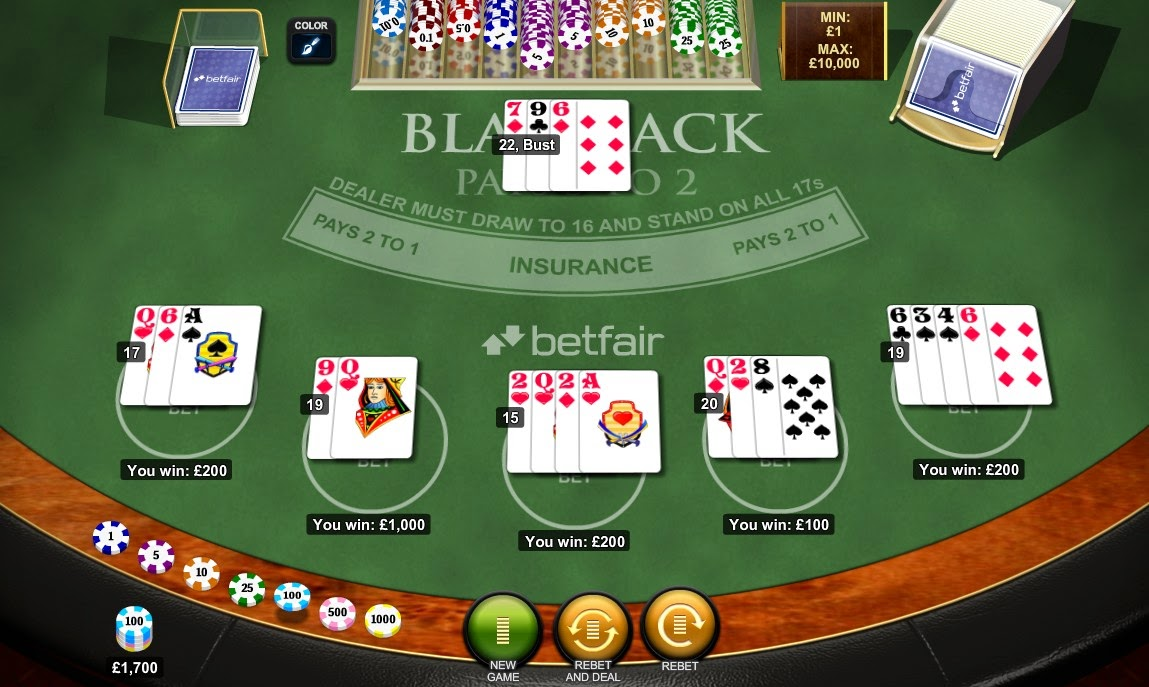 Betfair Casino Blackjack Screen