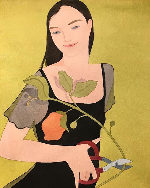 Kelly Beeman arte | dibujo en acuarela de mujer feliz