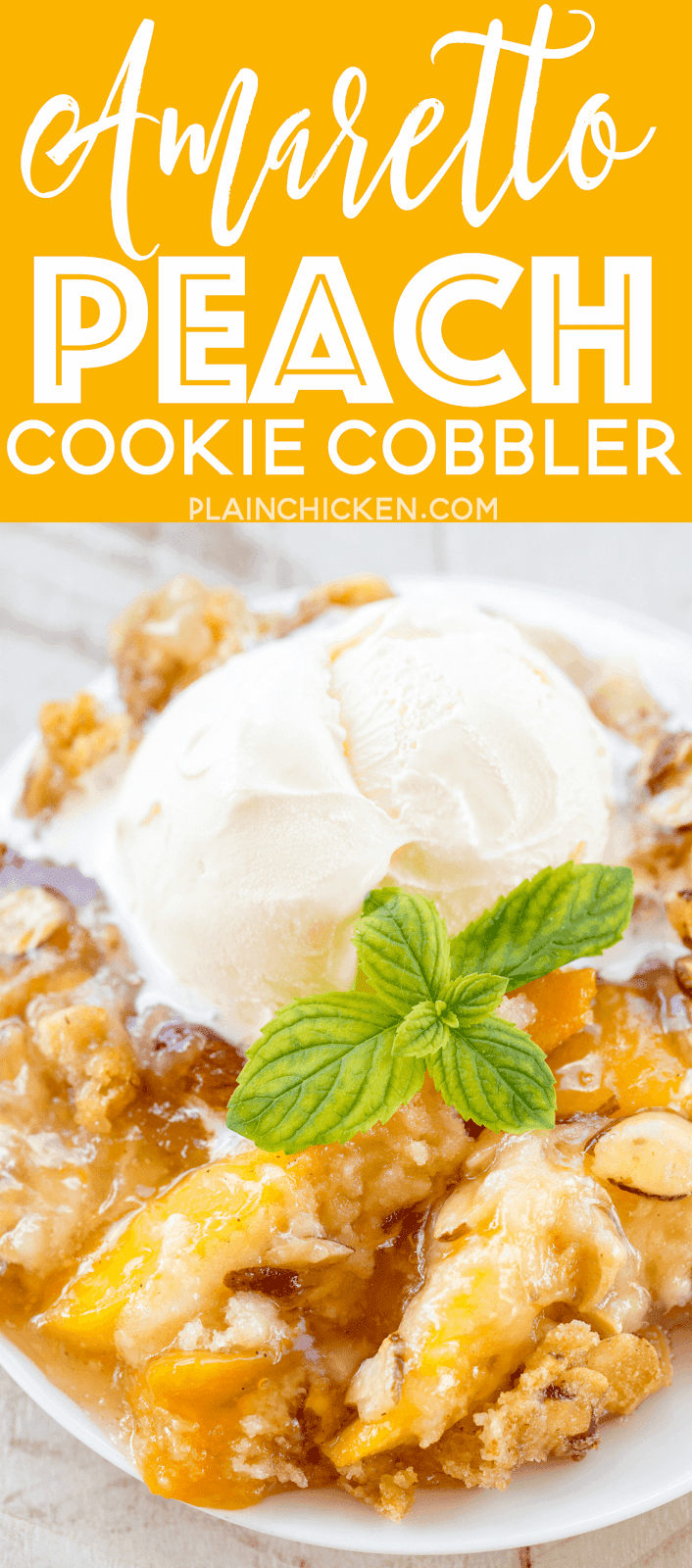 Amaretto Peach Cookie Cobbler - heaven in a pan! CRAZY good!!! Super easy to make and a real crowd pleaser. Peach pie filling, peaches, amaretto, sugar cookie mix, sliced almonds and butter. Ready to eat in 30 minutes! There are never any leftovers when I take this to a potluck. Such a wonderful and easy dessert recipe!