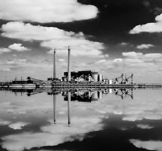 power plant, black and white photo