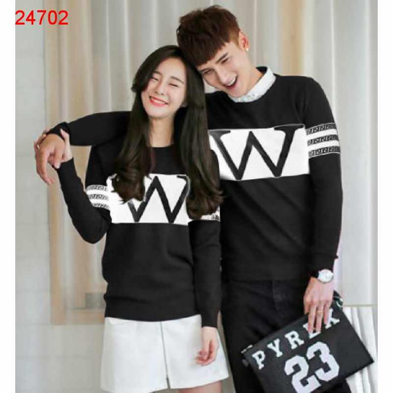 Jual Sweater Couple Sweater Wonder Neo Black White - 24702