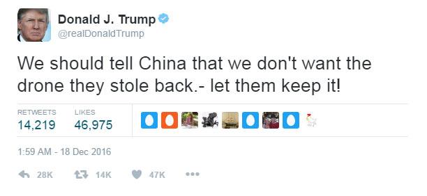 Trump tells China to keep US drone it seized