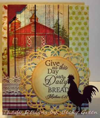 Our Daily Bread designs Living Water, ODBD Custom Doily Dies, ODBD Rustic Beauty Paper Collection, North Coast Creations Barn, ODBD Customer Card of the Day by Becky Green aka TLady