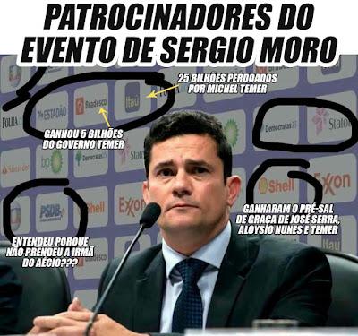 Sergio Moro, que em 4 anos de Lava Jato não investiga o Aecio Neves e outros tucanos delatados, recebe patrocínio do PSDB,DEM,Globo, Shell, Exxon, Itaú,Bradesco,Folha,Santander e outros em evento