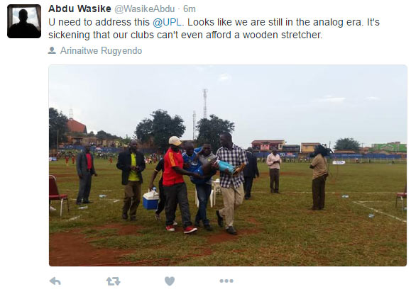 See how injured player was carried off the pitch in Uganda