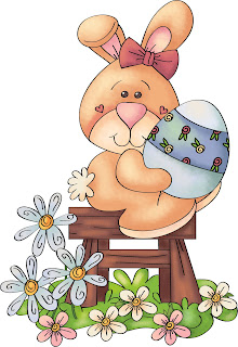 Clipart Image of a cute country bunny on a stool holding an Easter egg