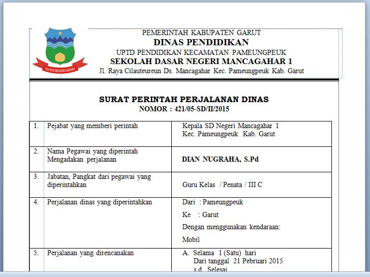 download contoh surat perintah perjalanan dinas sppd
