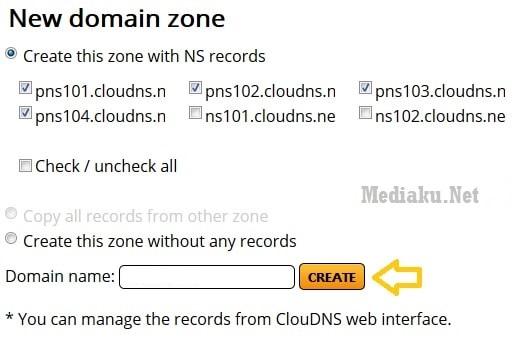 Tambah Domain ClouDNS
