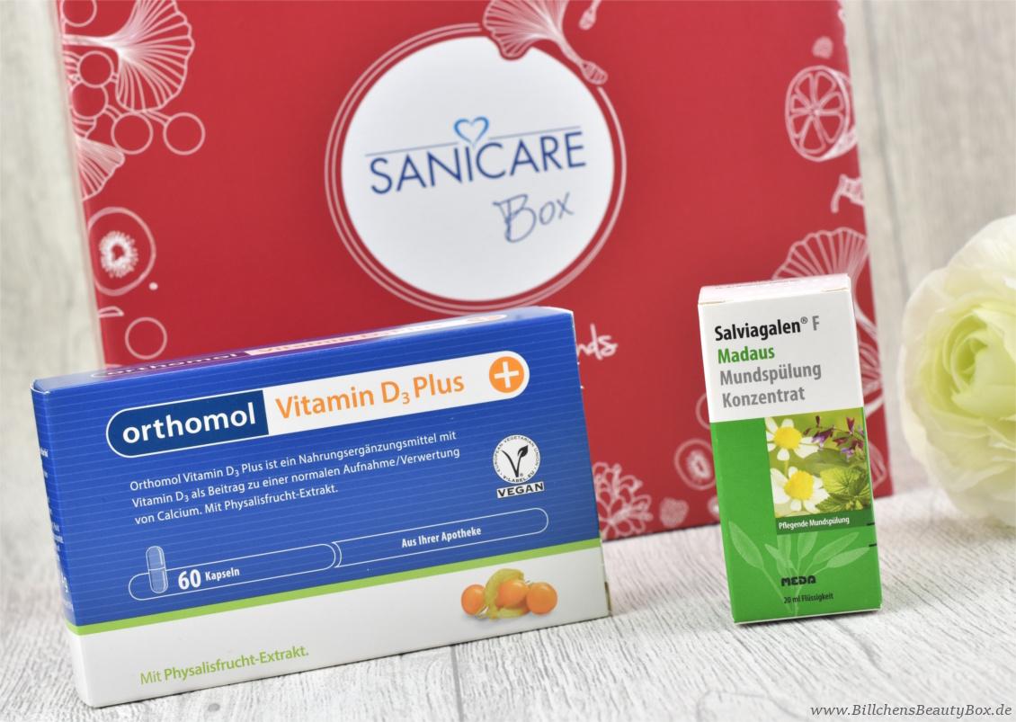 Sanicare Box Januar 2018 - Eucerin & Friends - Orthomol Vitamin D3 und Salviagalen F Madaus Mundspülung