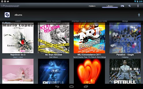 Poweramp Music Player (Full) version 2.0.9    Poweramp Music Player- Current Version:2.0.9-build-539 Follow us on twitter @Poweramp2 to get instant updates on app development progress, feature spotlight, theme sharing, take part in giveaways and even chances for free copies of Poweramp.Please check Common Questions/Answers below in the description.Key Features:- plays mp3, mp4/m4a (incl. alac), ogg, wma*, flac, wav, ape, wv, tta, mpc, aiff (* some wma pro files may require NEON support)- 10 band optimized graphical equalizer for all supported formats, presets, custom presets- separate powerful Bass and Treble adjustment- stereo eXpansion, mono mixing, balance- crossfade- gapless- replay gain- plays songs from folders and from own library- dynamic queue- lyrics support, including lyrics search via musiXmatch plugin- embed and standalone .cue files support- support for m3u, m3u8, pls, wpl playlists- OpenGL based cover art animation- downloads missing album art- 4 widget types with many selectable styles, advanced customization; Android 4.2 lock screen widgets- configurable lock screen- headset support, automatic Resume on headset and/or BT connection (can be disabled in settings)- scrobbling- tag editor- visual themes, including support for external/3rd party skins- fast library scan- high level of customization via settingsThis version is 15 days full featured Trial. See Related Apps for Poweramp Full Version Unlocker or use Buy option in Poweramp settings to buy Full Version.====Common Questions/Answers for Poweramp v2.x:Q. My songs are missing from folders/library.A. Please ensure you have all your folders with music actually checked in Poweramp Settings => Folders and Library => Music Folders.Your original Android Library is not changed, nor any files deleted.Poweramp library is a separate, completely independent library. When you installed Poweramp 2.0, it just got filled with the files scanned from your sd card/other flash memory, as specified in Music Folders.Q