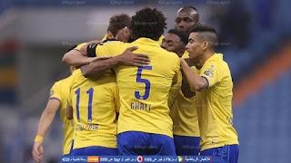 نهاية المباراة بالتعادل الايجابي 1 - 1 بين النصر والفيحاء