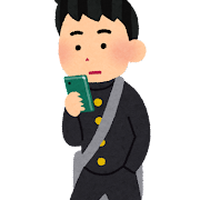 歩きスマホのイラスト(男子学生)