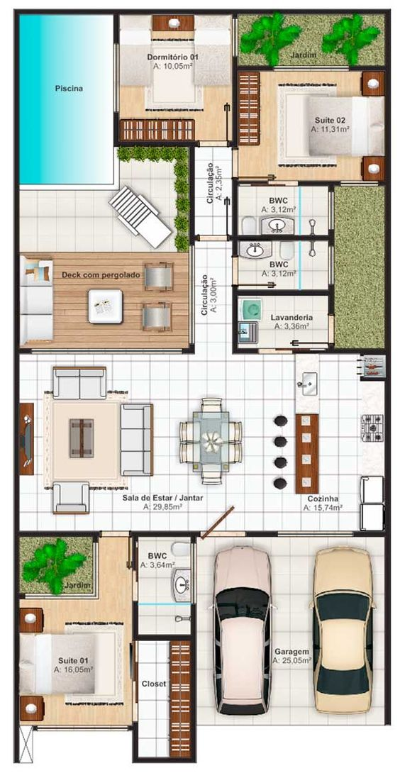 Spain holidays villas floor plan with 3 bedrooms and 150 for 120 sqm modern house design
